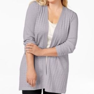 Karen Scott Pointele Duster Open Front Cardigan